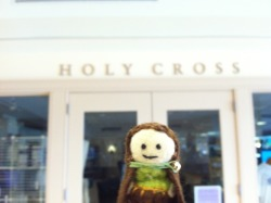 A tiny hobbit visits College of the Holy Cross in Worcester, MA.