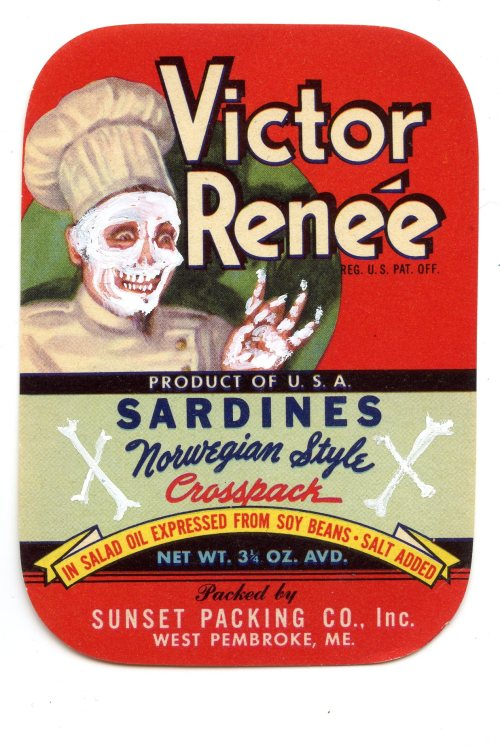 chef bones, vintage label, gouache, 2012 bone a day  wendy wallin malinow inkhead