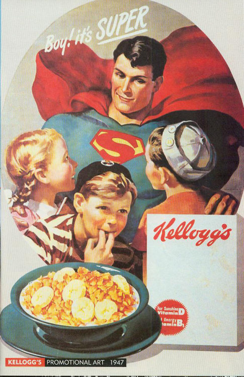Superman, teaching kids the wonders o cereal.