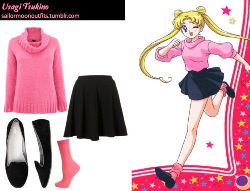 sailormoonoutfits:  Requested by:minastefan GAP suede loafers in True Black Topshop jersey skater skirt in Black Topshop neon pink ankle socks Warehouse gauzy roll neck jumper in Bright Pink or H&M jumper in Cerise