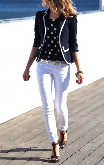 #PinterestFashionFind: White pants, polka dot blouse & navy jacket. Amazing look. As seen on: pinterest.com/meganmiller725/