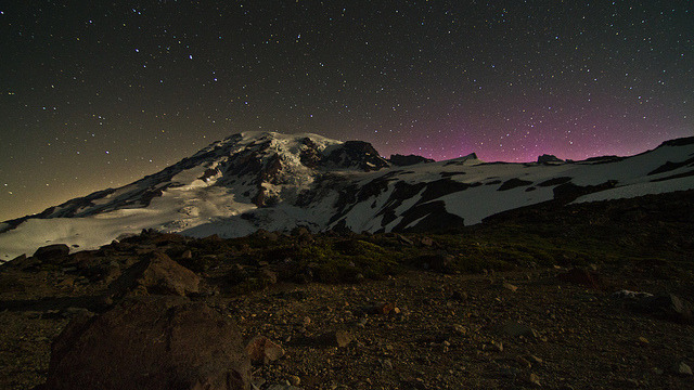 Rainier Lights and Shadows - 1:47am by Don Jensen on Flickr.