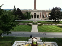 A tiny hobbit enjoys a view of the Kimball quad at Holy Cross. No streaking, tiny hobbit!