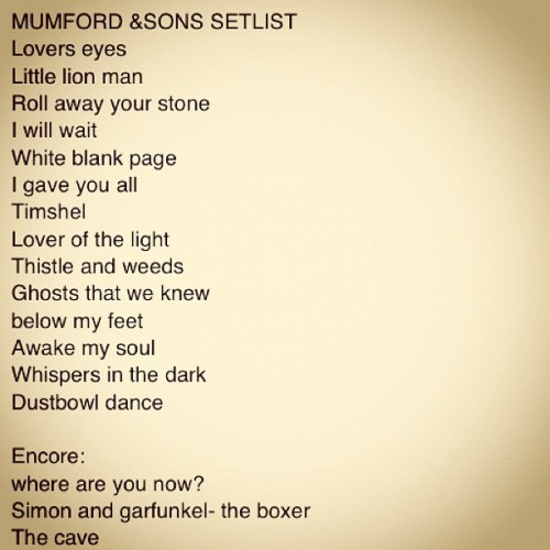 Set list for Mumford & Sons' concert at the Providence Performing Arts Center on August 6, 2012. Photo via Joshua A. Kaplan.