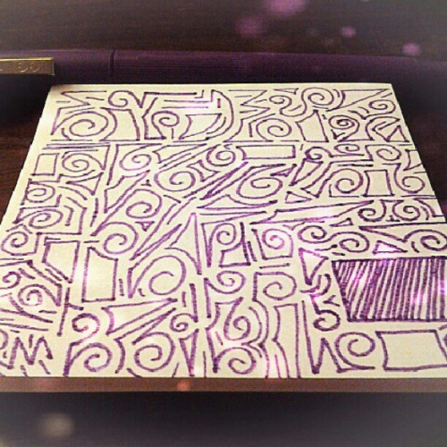 Boredom gets the best of me :p #sketch #marker #art #swirls #purple (Taken with Instagram)