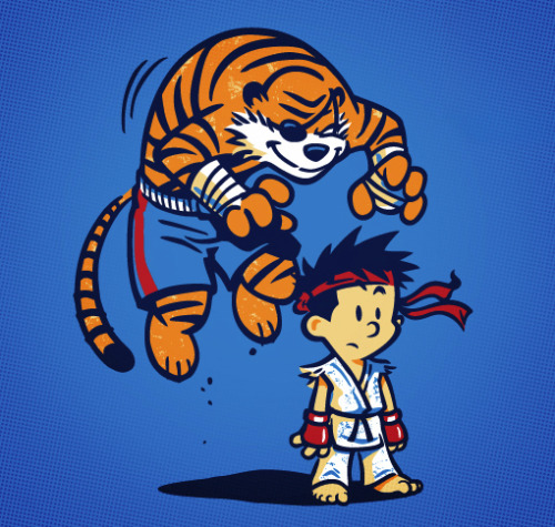 Calvin and Hobbes have been training hard for their new Street Fighter adventure. Winter Artwork's awesome mash up shirt design is on sale Tuesday August 7, 2012 only at TeeFury for $10. TIGER UPPERCUT! Related Rampages: SkyTrooper | Adopt A Dire Wolf (More) Tiger by Winter Artwork (RedBubble) (Flickr) (Facebook) (Twitter)