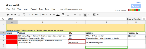 Checking community managed #rescuePH Twitter hash tag and Google Doc. Please refer to both to report, track, or assist flood related emergencies. Hash tag any rescue requests you may see on Twitter with #rescuePH and spread the word so all efforts are consolidated.  Thank you!  Google Doc link: https://docs.google.com/spreadsheet/ccc?key=0Av4sFm2l8QlGdDBpV21SWmN1R2JLZXdYV0RYY3FmWXc#gid=0