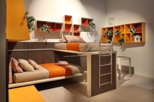 homedesigning:  Orange Red White Kids Room