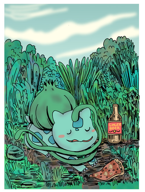 via citriccomics: Ian Andersen drew a bulbasaur relaxing, eating pizza, and drinking ginger beer for Maré Odomo's birthday this year.