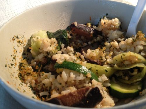 My lunch from today at work: brown/white rice, steamed zucchini/baby bok choy and shittake mushrooms topped with some nacho cheeze flavored Brad's kale chip Crumbs which were totally amazing and someone just left on the counter for everyone to share. Yum! Loved it topped with soy sauce and sriracha.