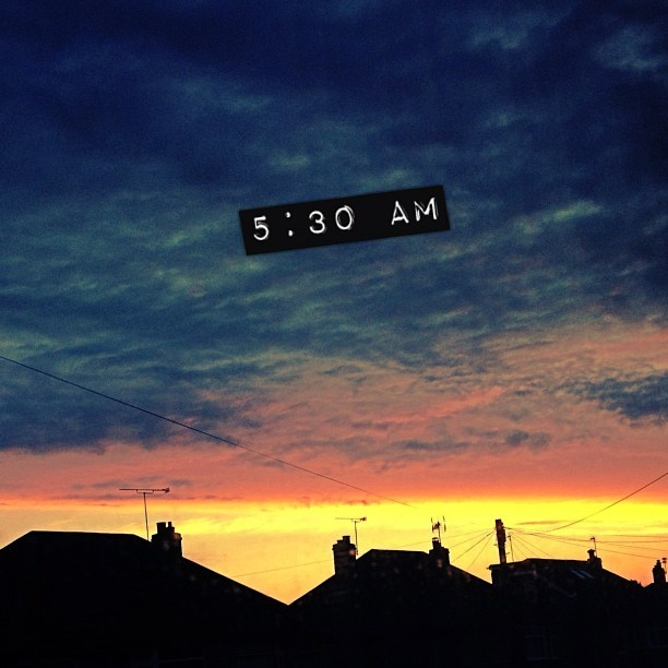 Good morning. #sunrise #uk #5am #pretty #sky #viewfromawindow #outside #sun #clouds #summer #august #iphoneonly  (Taken with Instagram)