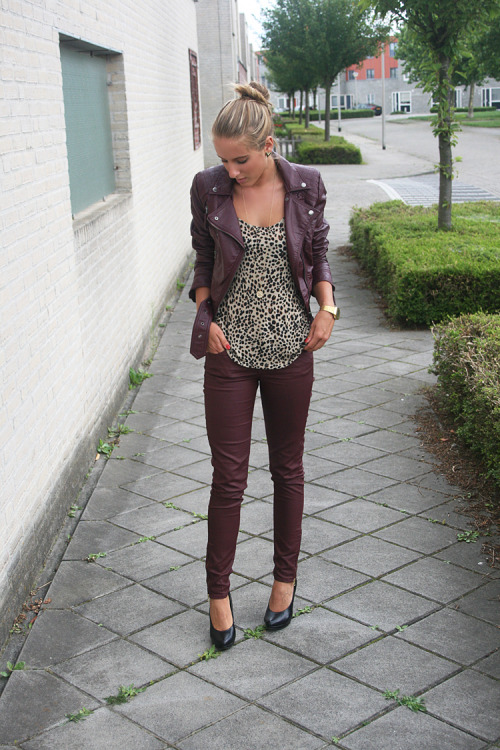 the-streetstyle:  Burgundy denim and leather