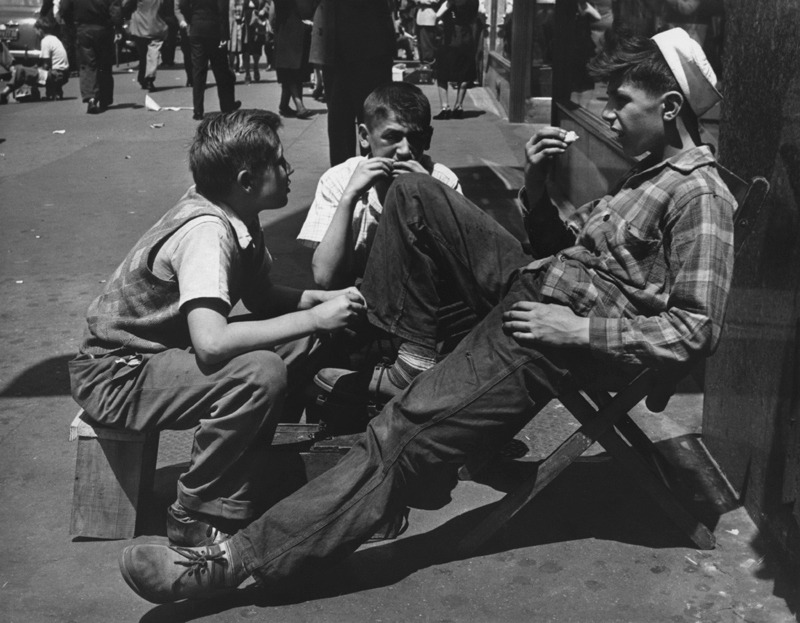 Shoeshine boy and friends. New York, 1947. By Morris Engel
