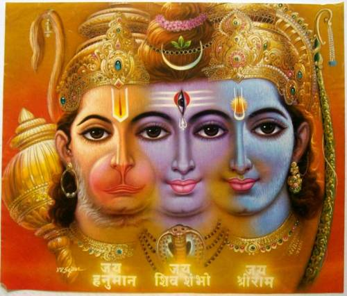An extraordinary— and merged-together— trimurti: Hanuman, Shiva, Rama  (bazaar art, 1980's)