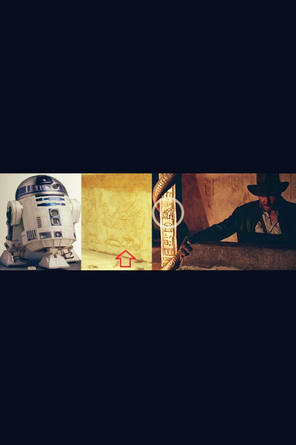 Look! it's a Storycube   portkey. (Via Amanda B)- R2D2 & C3P0 were in Raiders - at Colcord Pond