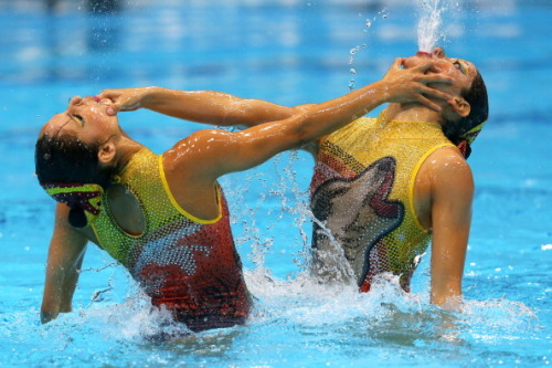chalkboardgirl:  Are those WOLVES on Mexico's Synchronized Swimmer? YES. Yes it is.