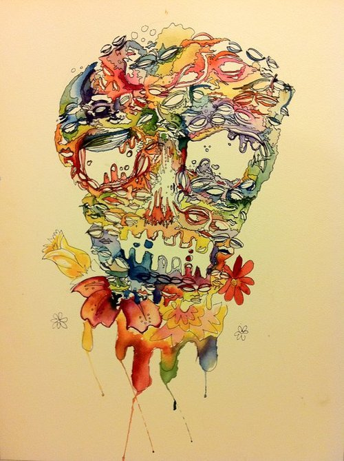 Skull made of droopy rainbow faces | Water Color and Micro Pen 18x24