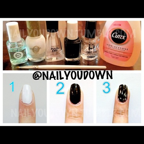 A quick photo #tutorial for my #acidwash #nails requested by @dulcesophie @poeputri. I used Essie First Base Base Coat, Orly White Tips, Sally Hansen Insta-Dri Clearly Quick, Essie Licorice, Seche Vite Top Coat, Remover, e.l.f. Professional Concealer Brush.  1. Apply base coat and then 2 coats of white polish. It doesn't have to be completely opaque since you will be going over it. Add a coat of clear polish on top- this will help protect your base from the remover in step 3.  2. Once your nails are completely dry, paint one thin layer of black polish on top.  3. Dip a thin brush into nail polish remover and gently dab it over parts of your nail to remove some of the black polish. Finish it off with a top coat! #nailtutorial #nailyoudown (Taken with Instagram)