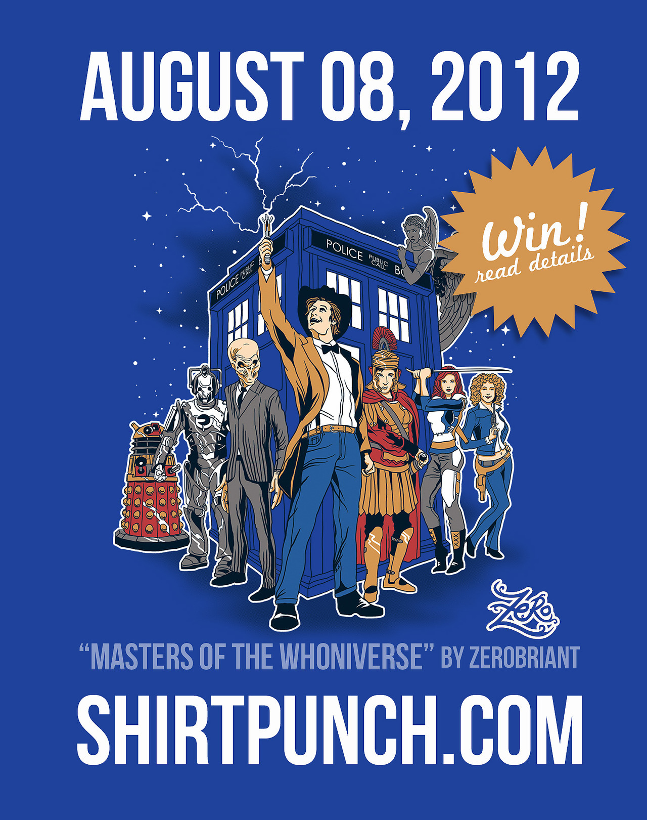"""WIN a poster and sticker packs!! Tweet: """"Masters of the Whoniverse"""" by @zerobriant Available at the newest shirtpunch.com August 8th #DoctorWho For Facebook users Share, Like Comment on this post.http://on.fb.me/QzHxpX If this post reach 200 likes I will be giving away a free T-shirt! :) Reblog this post and that will be your entry! :) www.shirtpunch.com"""