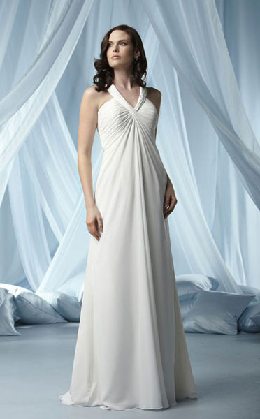Sheath/ Column V-neck Floor-Length Empire Chiffon Ruched Wedding Dress form bosgoo