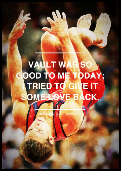tourdeobsession:  Sam Mikulak, on why he kissed the vault after completing the handspring double front flip in today's Men's Vault competition in London. [Photo: lapatilla | Source: boxscorenews | Phoster/CameraAwesome]