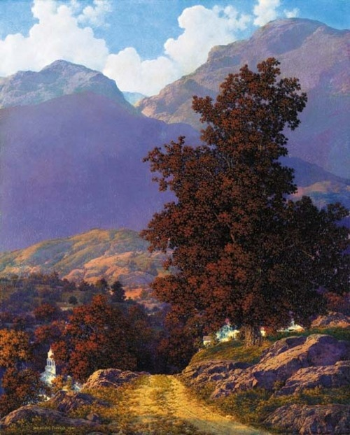 "wasbella102:  Road to the Valley, Maxfield Parrish. American Illustrator (1870 - 1966)   After he was finished painting ""girls on rocks"", Parrish spent decades doing landscapes, most of his native New England."