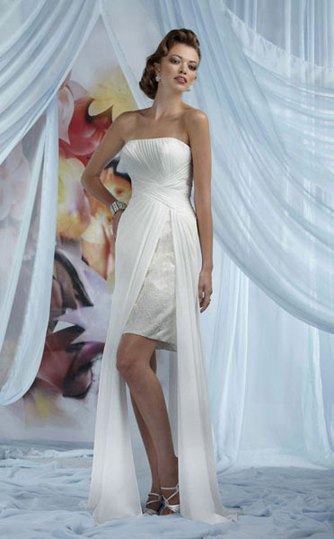 Sheath/ Column Top-Knee-Length Chiffon Ruched Wedding Dress
