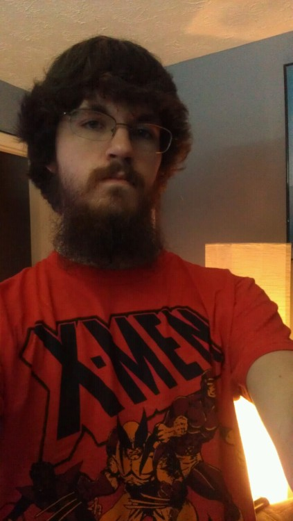 Wearing the new shirt, breaking it in.