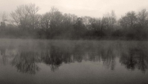 journalofanobody:  The blue river is grey at morningand evening. There is twilightat dawn and dusk. I lie in the darkwondering if this quiet in me nowis a beginning or an end. ― Jack Gilbert (photo via WCS)