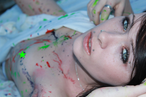 This was from a shoot on the weekend, The idea of all the messy paint was my own idea =]] it was alot of fun! Taken by Scott L Photography!