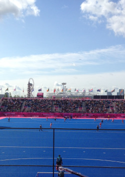 The view from the stands at the London 2012 Olympic Hockey over the Olympic Park.