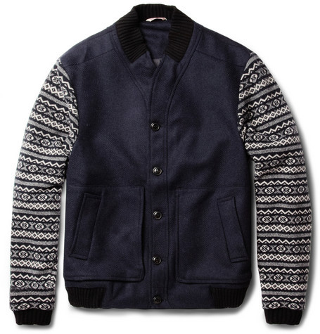 Oliver Spencer Fair Isle-Sleeved Wool-Blend Bomber Jacket ($555)