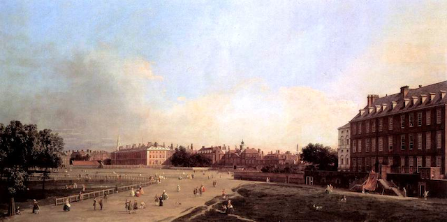At Auction: A Canaletto New Horse Guards from St James's Park by Italian artist Canaletto (1697–1768), a rare view of the London landmark under construction in 1753, is being sold by one of Europe's largest auction houses, Dorotheum in Vienna, on October 17, 2012. The work is estimated to sell for €2 to 3 million.  In the foreground of the painting is Horse Guards Parade, where monarchs traditionally take the salute at the Trooping the Colour ceremony on their official birthday. This vast parade ground has recently become more recognizable throughout the world as the 2012 Olympic venue for beach volleyball.