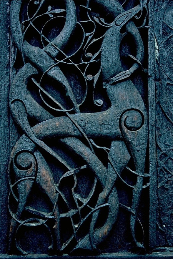 Carving at Urnes stave church