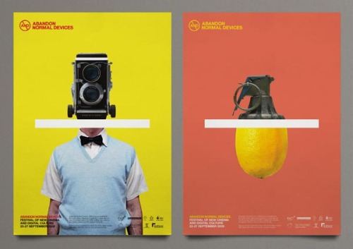 Abandon Normal Devices Film Festival Brand design and campaign for the (AND) Abandon Normal Devices Film Festival in Liverpool. The graphic design work includes a full identity design, several printed items like posters, flyers and a festival guide. Design by Marcus McCabe at Uniform. via: WE AND THE COLORFacebook // Twitter // Google+ // Pinterest
