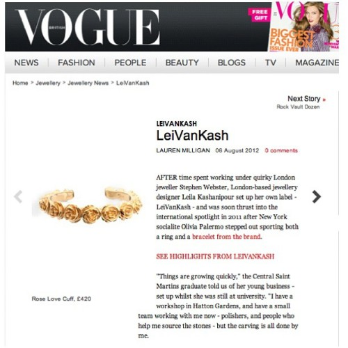 We've been #Vogue'ed @britishvogue see more press features on #leivankash #jewellery on www.leivankash.com  (Taken with Instagram)