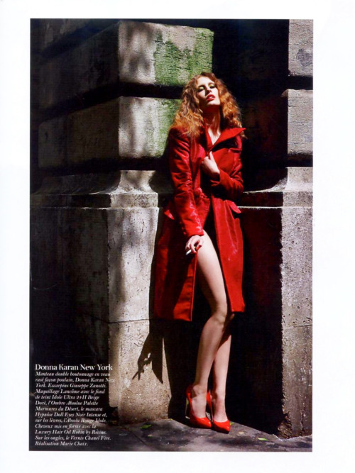 "dknyprgirl:  ooh la la. #DonnaKaran fiery red haircalf coat in #VogueParis. Nothing says ""I rock"" like a red coat. Wouldn't you agree?"