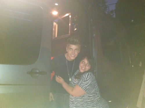 Justin with a fan yesterday