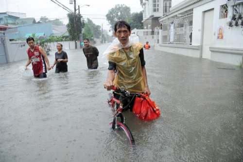 "Monsoon rains in Manila force 270,000 to flee Reuters: Deadly torrential rains submerged much of the Philippine capital, Manila, Tuesday, forcing nearly 270,000 to flee their homes. More flooding is expected in the north of the country as a tropical storm passes through, officials say. The Philippines weather bureau says steady rains for the past 10 days, killing more than 50, are set to continue until Wednesday. ""It's like 'Waterworld,'"" the head of the Philippines national disaster agency says. Photo: A resident pushes his bicycle through murky floodwaters in Quezon City in suburban Manila, Philippines, on Aug. 7, 2012. (Jay Directo / AFP - Getty Images)"