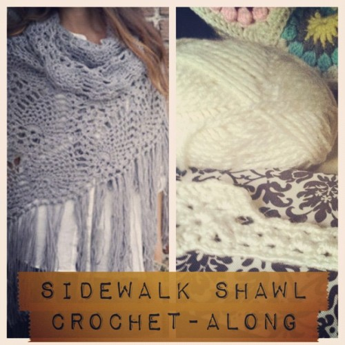 mycraftaddiction:  Join me for a #crochetparty #crochetalong featuring Stitch Nation's beautiful sidewalk shawl pattern. I've chosen to use a thicker cozier yarn from premier to use for mine, but any yarn will do! I'm also going to alter the pattern and do a decorative edging rather than fringe. The free pattern is here: http://www.stitchnationyarn.com/Patterns/sidewalk-shawl.html join us? I'm using the tag #lovelycrochetalong to tag my progress posts I will also be posting about it on my new blog too, along with pics from my friends that join in! #indielovely #mycraftaddiction #crochet #crochetparty #crochetaddict (Taken with Instagram)  Thinking about this. I'm stopping by my LYS at lunch and if I can find a nice thick yarn to use, not too expensive, I might jump on this CAL.