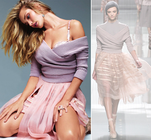 Rosie Huntington-Whiteley poses for Elle UK's September issue in a Christian Dior Fall/Winter 2012 sweater and skirt combo, Just Cavalli leather boots and Chanel jewellery