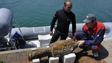 "archaeology:  Roman-era boat found off Italy coast 'almost intact'  Divers say they have discovered a ship off the coast of Italy which they believe is about 2,000 years old. The ship, which was found in the sea off the town on Varazze in the province of Liguria, is thought to be a Roman-era commercial vessel. Fishermen in the area said they had been finding shards of pottery in their nets for years, prompting police divers to launch a search. The ship is said to be in a very well-preserved condition. ""The peculiarity of this is that the wreck could be almost intact,"" Lt Col Francesco Schilardi of the police divers' group told the BBC. ""We believe it dates to sometime between the 1st Century BC and the 1st Century AD,"" Lt Col Schilardi said. The mud on the seabed had hidden but also protected the wreck, he added. The divers say that study of the vessel should help to understand commercial activity in that era. The ship is thought to have traveled on trade routes between Spain and what is now central Italy and was loaded with more than 200 clay amphorae likely to have contained fish, wine, oil and grain.  full story here"
