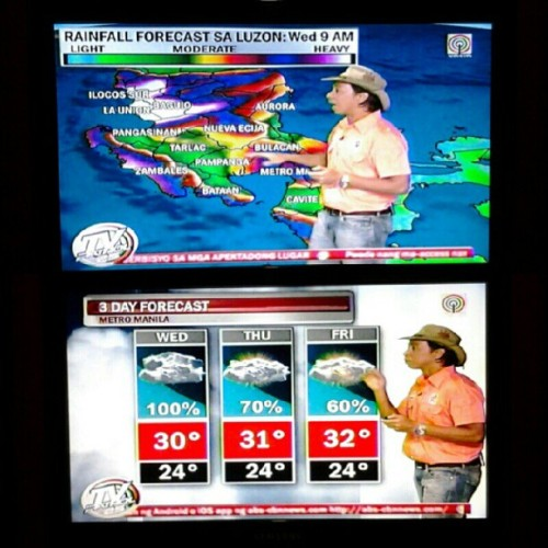 08.07.2012 3 Day weather forecast. #Luzon #MetroManila #MM #rain #weather #2012 #tv #tvpatrol #kuyakim #bataan #cavite #anitpolo #cainta #news #photoblog #blog #memories #houseupv #habagat #Philippines #thunderstorms Keep safe everyone. ;) (Taken with Instagram)