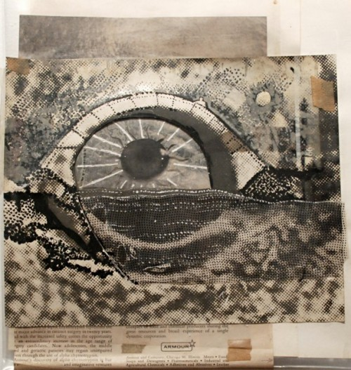frenchtwist:  via regardintemporel:  Stan Vanderbeek - Untitled, See Saw Seems, Collage And Paint On Paper, 1965 Also