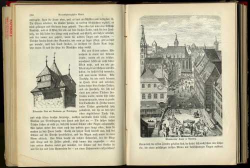 An inside view of that old German book from 1883. The full-page illustration is of a view of a street in Nuremburg…