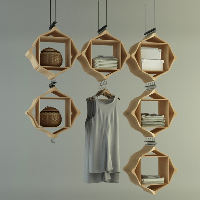 Hanging storage system by Pog Architecture.