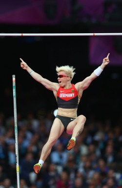 Super Heroines!! gettyimages:  Stoked! Martina Strutz of Germany reacts after clearing the bar in the Women's Pole Vault final on Day 10 of the London 2012 Olympic Games at the Olympic Stadium on August 6, 2012 in London, England. Photo by: Michael Steele/Getty Images