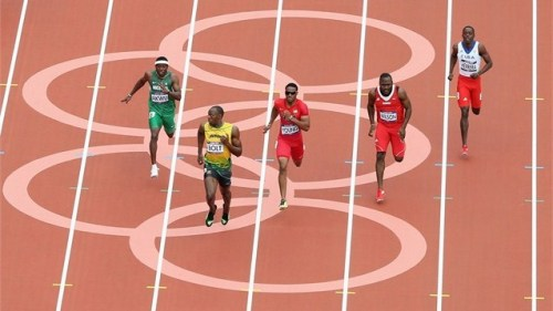 olympics:  Usain Bolt has a look over his shoulder for the 200m  Oh, man. Just keep doing what you're doing, as well as you need to do it. And then a touch more…