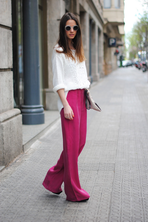 Nice pants! (Via and image source) Pants: $34.50 (Delia's) or $66.75 (Vince Camuto)  Blouse: $11.99 (Forever 21) or $58 (American Apparel) or $98 (Yumi Kim) Sunglasses: $32 (Topshop) Shoes: $49 (Nine West) or $59.99 (J.Jill) or $99 (Steve Madden)  Clutch: $40 (Aldo) or $57.99 (ASOS)