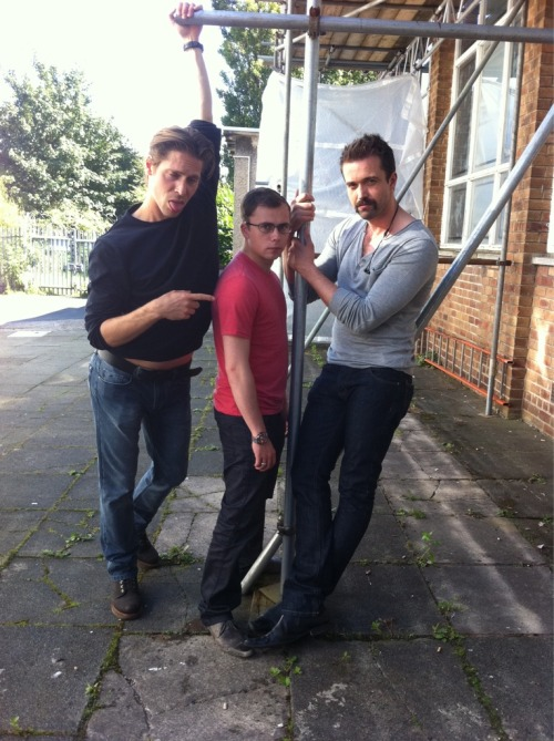 """Joe Tracini ‏@joetracini New boyband suggestion…The Fucknut Bunch. Me,@EmmettScanlan and @NeilNewbon. http://yfrog.com/nya2xsej """